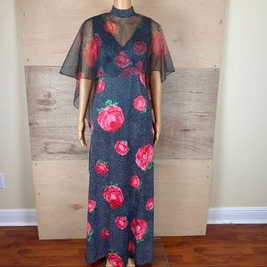 NWT Vintage Montgomery Ward Floral Dress With Cape